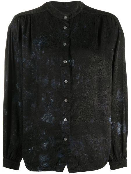 С рукавами черная рубашка с воротником на пуговицах Raquel Allegra