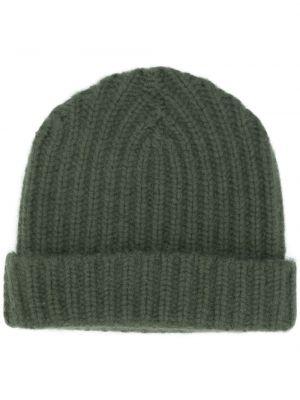 Зеленая кашемировая теплая шапка бини в рубчик Warm-me