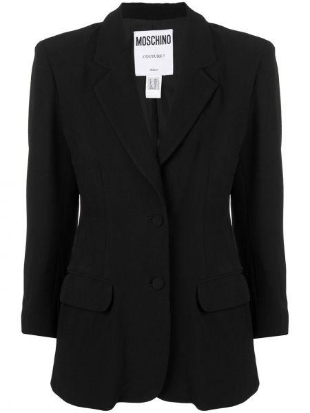 С рукавами черный пиджак винтажный на пуговицах Moschino Pre-owned