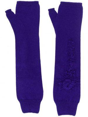 Prążkowane z kaszmiru niebieskie rękawiczki bez palców Barrie