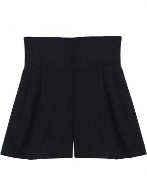 Хлопковые черные с завышенной талией шорты Carolina Herrera