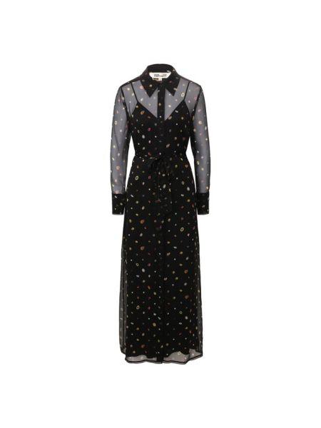 Платье макси в горошек с декольте Diane Von Furstenberg