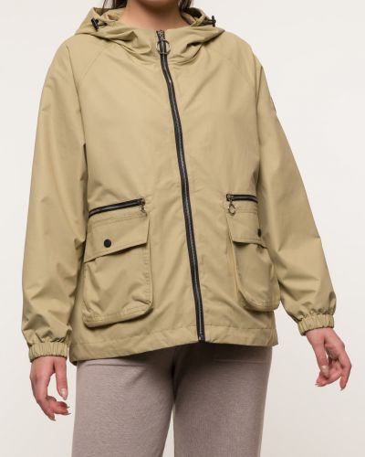 Прямая бежевая куртка с капюшоном каляев