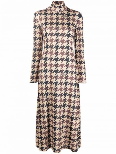 Brązowa sukienka z długimi rękawami Rokh