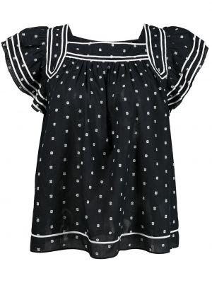 Блузка в горошек - черная Ulla Johnson