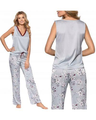 Szara satynowa piżama w kwiaty Nipplex