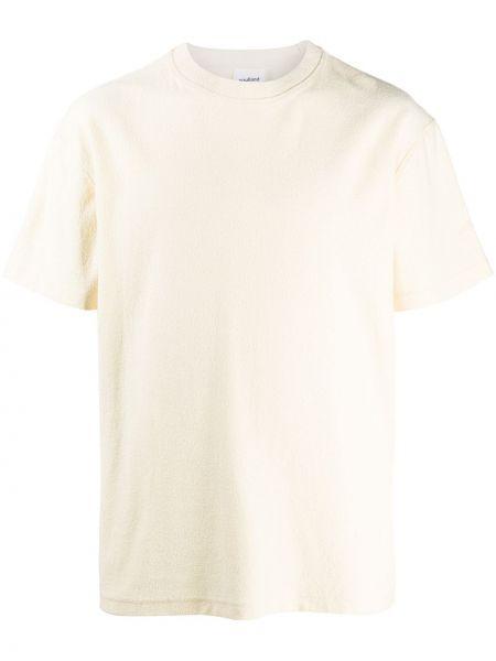 Прямая хлопковая желтая футболка с круглым вырезом Soulland
