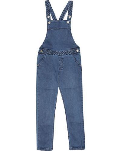 Ватный хлопковый синий джинсовый комбинезон Tartine Et Chocolat