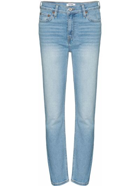 Bawełna zawężony jeansy do kostek z kieszeniami z łatami Re/done