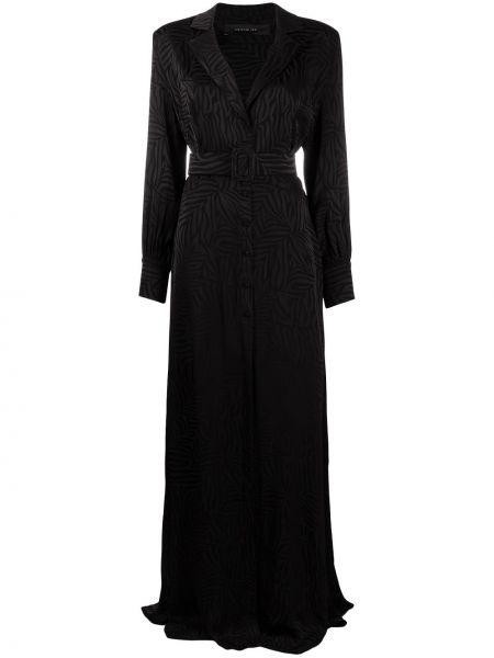Черное платье макси с длинными рукавами из вискозы Federica Tosi
