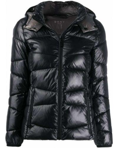 Прямая черная длинная куртка Dkny