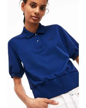 Синее поло на пуговицах с вышивкой свободного кроя Lacoste