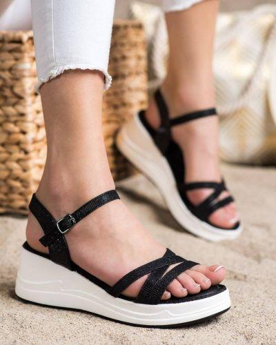 Klasyczne brokatowe czarne sandały na koturnie Small Swan
