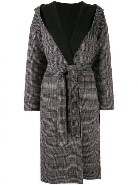 Серое шерстяное длинное пальто с капюшоном Loveless