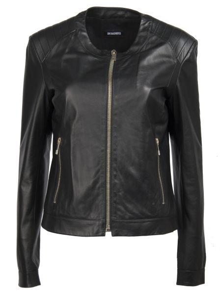 Черная кожаная куртка на молнии круглая с вырезом Dirk Bikkembergs