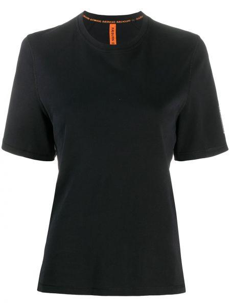 Черная прямая рубашка с коротким рукавом круглая с короткими рукавами Raeburn