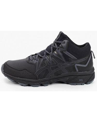 Черные кожаные кроссовки Asics