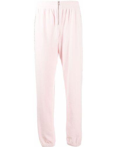 Велюровые розовые джоггеры на молнии Juicy Couture
