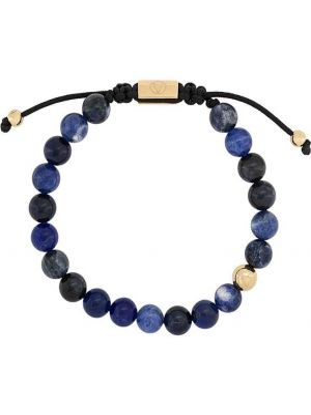 Синий браслет позолоченный с черепами Northskull