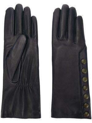 Синие кожаные перчатки из альпаки Agnelle