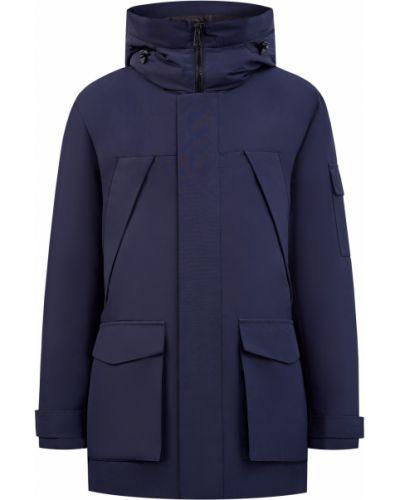 Стеганая синяя куртка с воротником Cudgi