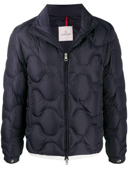 Puchaty niebieski pikowana kurtka z kieszeniami z długimi rękawami Moncler