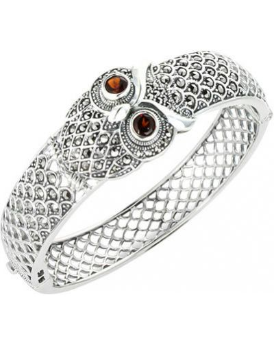 Широкий браслет с камнями серебряный марказит