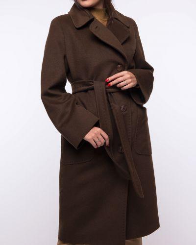Коричневое шерстяное пальто с воротником каляев