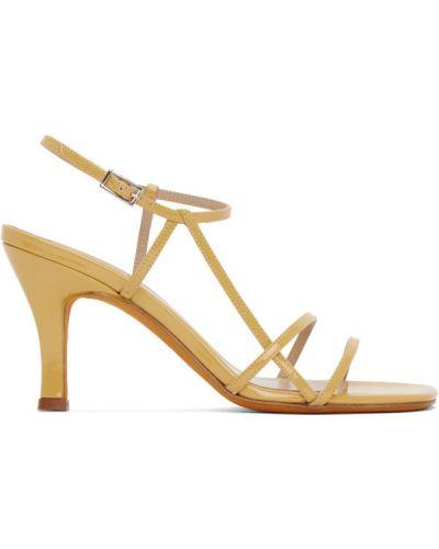 Beżowe sandały skorzane klamry Maryam Nassir Zadeh