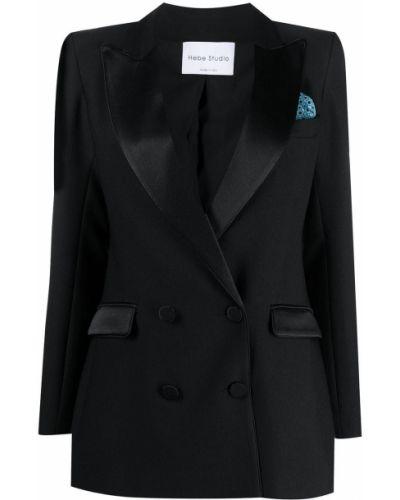 Черный классический пиджак двубортный с карманами Hebe Studio