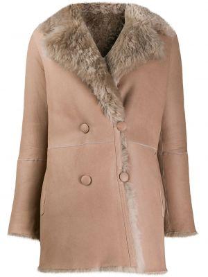 Длинное пальто с капюшоном двубортное из овчины Liska