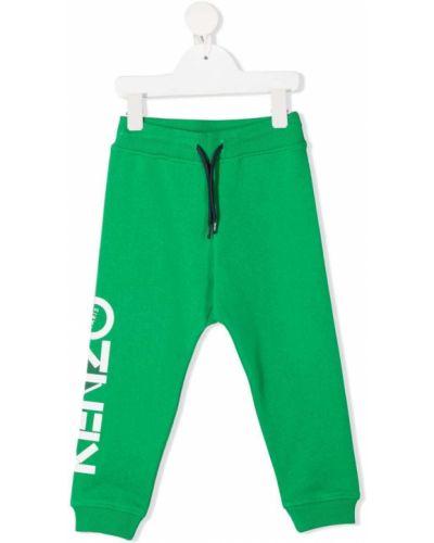 Zielone legginsy bawełniane z printem Kenzo Kids