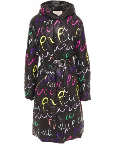 Текстильное черное стеганое пальто Emilio Pucci
