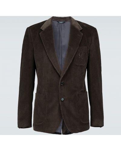 Коричневый однобортный пиджак с заплатками с карманами Dolce & Gabbana