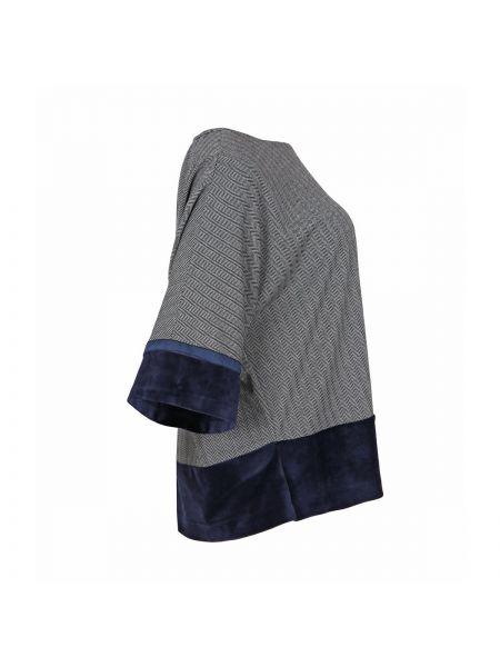 Черная блузка с длинным рукавом с вырезом с рисунком из вискозы Mat Fashion