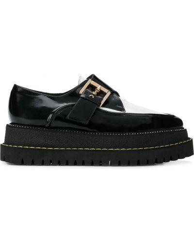 Кожаные туфли черные на платформе N21