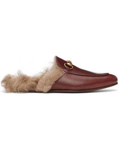 Loafers z prawdziwej skóry złoto na pięcie Gucci