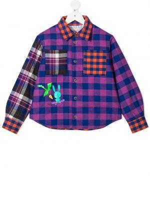 Хлопковая с рукавами классическая рубашка в клетку Natasha Zinko Kids