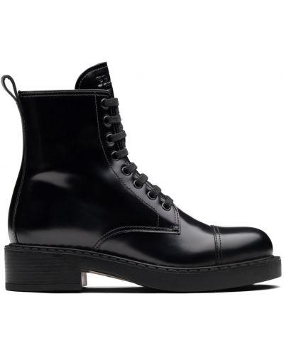 Черные кожаные ботинки без каблука Prada