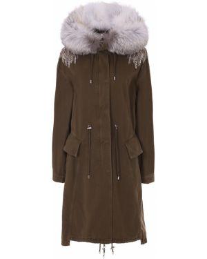 Куртка с капюшоном длинная с опушкой Alexander Mcqueen