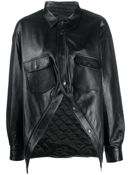Кожаная с рукавами черная классическая рубашка Balenciaga