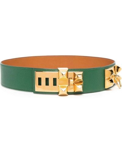 Зеленый кожаный ремень с заклепками Hermès