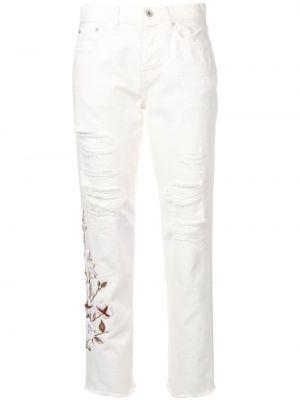 Белые прямые джинсы с вышивкой с карманами на пуговицах Off-white