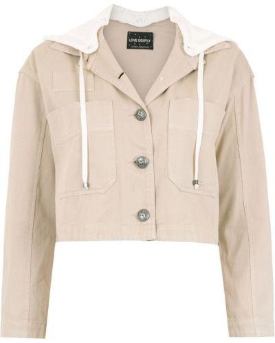 Прямая бежевая короткая куртка на пуговицах Andrea Bogosian
