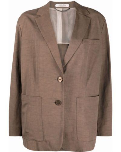 Однобортный коричневый удлиненный пиджак с карманами Dorothee Schumacher