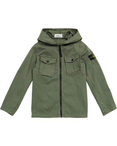 Куртка с капюшоном - зеленая Stone Island Junior