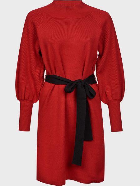 Красное платье с поясом из вискозы Silvian Heach