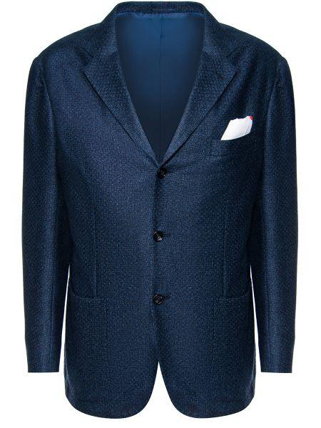 Кашемировый синий пиджак на пуговицах с лацканами Kiton