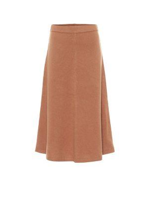 Шерстяная коричневая юбка миди на торжество Joseph