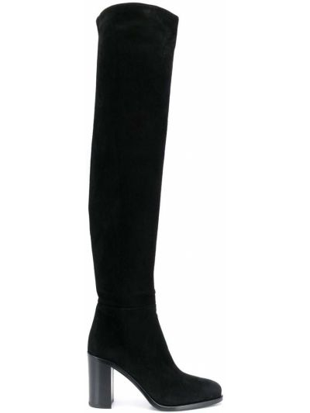 Zamsz czarny buty na pięcie na pięcie w połowie kolana Prada